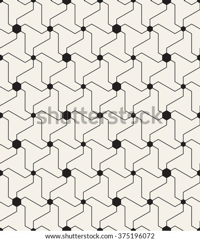Vector seamless pattern. Modern geometric texture. Repeating abstract background with twisted triangular elements. Filled black circles in nodes. Simple monochrome grid - stock vector