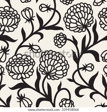 Vector seamless pattern. Modern repeating floral texture. Fancy print with stylized flowers. - stock vector