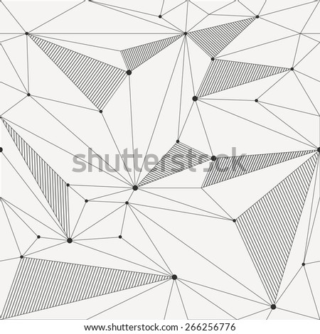 Vector seamless pattern. Modern stylish texture. Backdrop with stripes and triangles. Irregular abstract linear grid. Black and white - stock vector