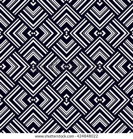 Vector seamless pattern. Modern stylish texture. Geometric ornament with white and black striped triangles and squares.