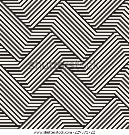 Vector seamless pattern. Modern stylish texture. Geometric striped ornament. Monochrome braids