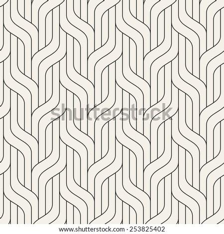 Vector seamless pattern. Modern stylish texture. Geometric striped ornament. Monochrome linear braids - stock vector