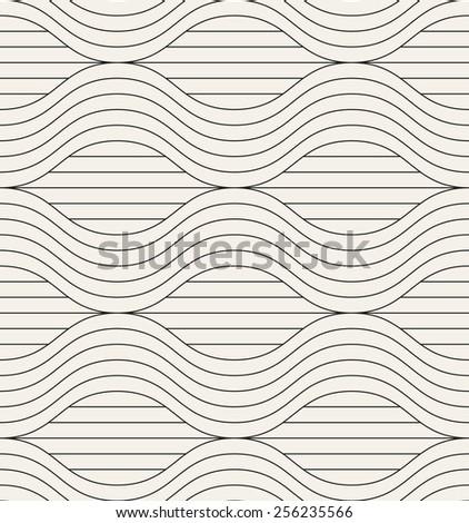Vector seamless pattern. Modern stylish texture. Geometric striped ornament. Monochrome linear waves - stock vector