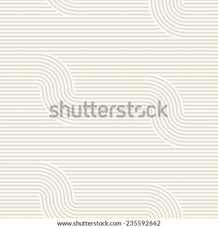 Vector seamless pattern. Modern stylish texture. Geometric striped ornament. Monochrome striped waves. Subtle neutral background - stock vector