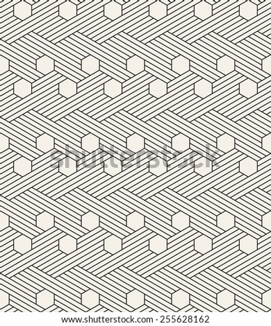 Vector seamless pattern. Modern stylish texture. Repeating geometric background. Striped hexagonal grid. Linear graphic design