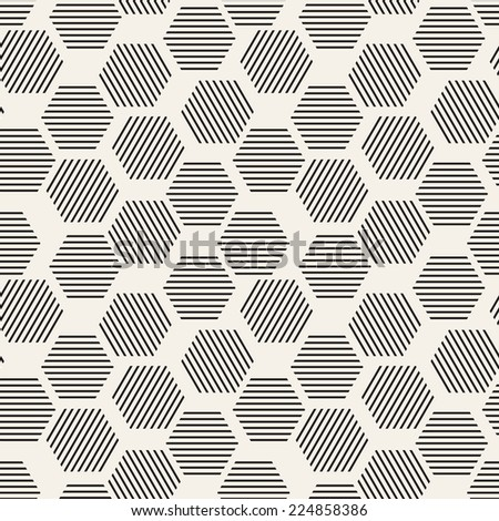 Vector seamless pattern. Modern stylish texture. Repeating geometric background. Striped hexagons - stock vector