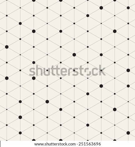 Vector seamless pattern. Modern stylish texture. Repeating geometric background with linear triangles. Variously sized circles in nodes - stock vector