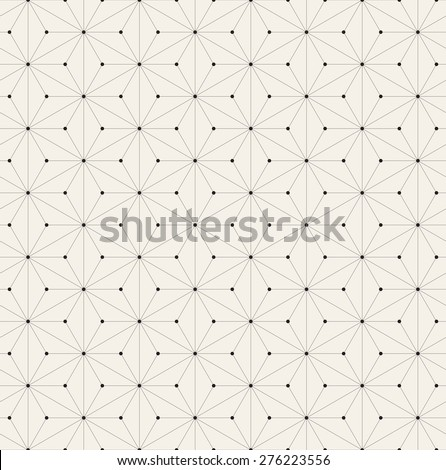 Vector seamless pattern. Modern stylish texture. Repeating geometric background with linear triangles. Small filled circles in nodes. - stock vector
