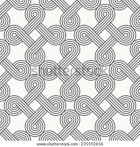 Vector seamless pattern. Modern stylish texture. Repeating geometric background with openwork elements. Striped ribbon forms a geometric pattern - stock vector