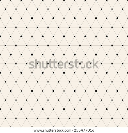 Vector seamless pattern. Modern stylish texture. Repeating geometric background with rhombus and nodes from rhombuses with hexagon variously sized in nodes