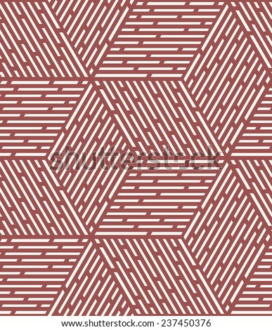 Vector seamless pattern. Modern stylish texture. Repeating geometric tiles. Dotted rhombuses form cube. Contrast ornament in trendy color Marsala - stock vector
