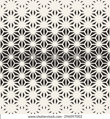 Vector seamless pattern. Modern stylish texture. Repeating geometric tiles from triangles. Monochrome grid with thickness which changes towards the center. - stock vector