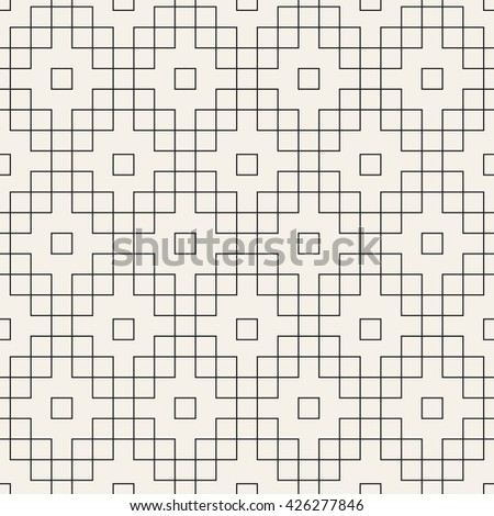Vector seamless pattern. Modern stylish texture. Repeating geometric tiles. Linear squares form geometric ornament.
