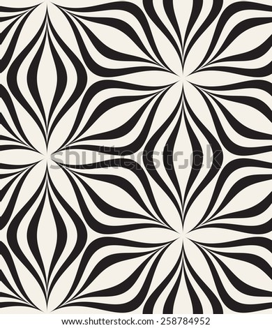 Vector seamless pattern. Modern stylish texture. Repeating geometric tiles. Stylized hexagonal flowers from striped petals. Contemporary graphic design. - stock vector