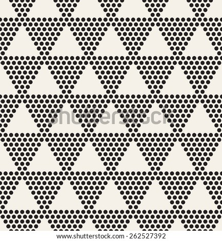 Vector seamless pattern. Modern stylish texture. Repeating geometric tiles with dotted triangles. Regular hipster background. Small circles form triangular minimalistic ornament.