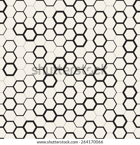 Vector seamless pattern. Modern stylish texture. Repeating geometric tiles with dotted triangles. Regular monochrome background. Different sized hexagons form stylish minimalistic ornament. - stock vector