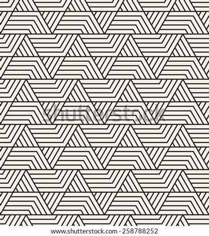 Vector seamless pattern. Modern stylish texture. Repeating geometric tiles with striped triangles. Contemporary graphic design. - stock vector