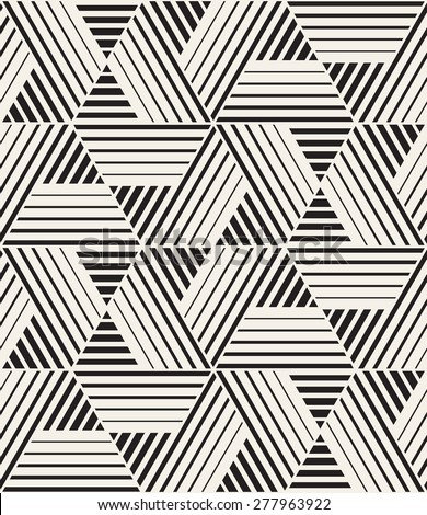 Vector seamless pattern. Modern stylish texture. Repeating geometric tiles with striped triangles. Monochrome hipster print. Contemporary graphic design. - stock vector