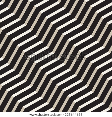 Vector seamless pattern. Modern stylish texture. Repeating geometric tiles with volume diagonal zigzag