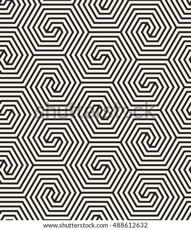 Vector seamless pattern. Modern stylish texture. Striped geometric tiles with hexagonal scrolls.
