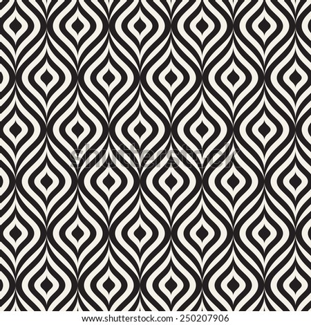 Vector seamless pattern. Modern texture. Repeating abstract background with garlands. Graphic stripes with wavy stripes - stock vector