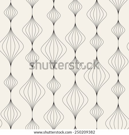 Vector seamless pattern. Modern texture. Repeating abstract background with linear garlands. Graphic stripes with wavy stripes - stock vector