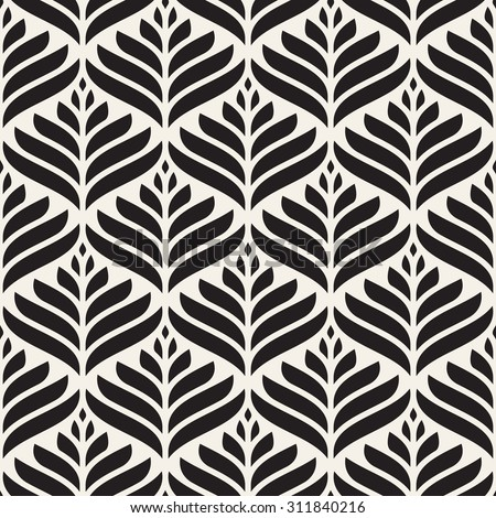 Vector seamless pattern. Monochrome ornament with stylized leaves. Geometric stylish background. Vector repeating texture. Modern graphic design. - stock vector
