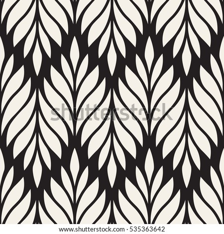 Vector seamless pattern. Monochrome ornament with stylized leaves. Geometric stylish background. Contemporary repeating texture. Modern graphic design.