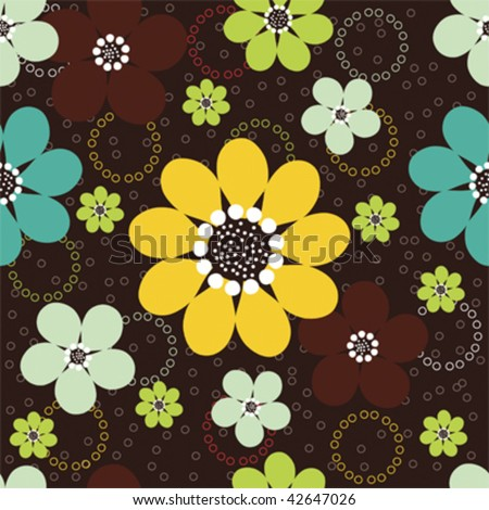 Vector seamless pattern of abstract daisy flowers with tiny circles against a dark brown background. - stock vector