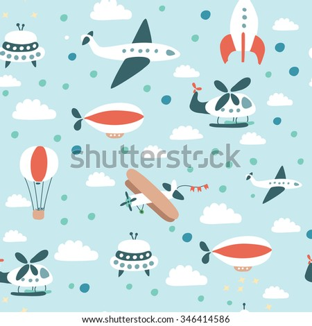 Vector seamless pattern of air crafts  - stock vector