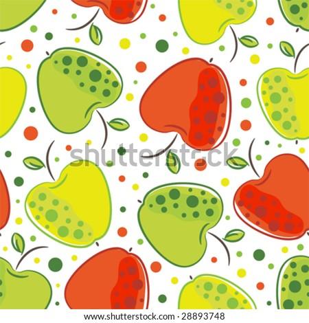 Vector seamless pattern of apple - stock vector