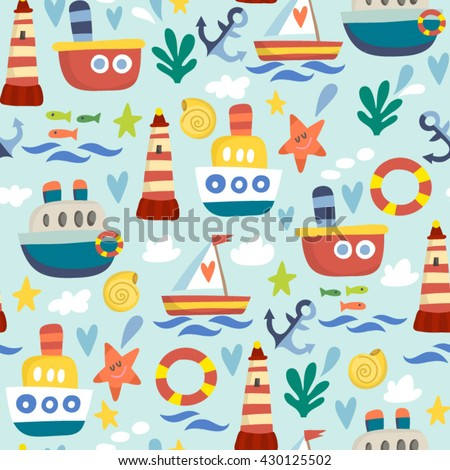 Vector seamless pattern of boats and ships in lovely cartoonish style.