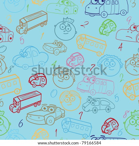 Vector seamless pattern of boy's faces with cars & number - stock vector