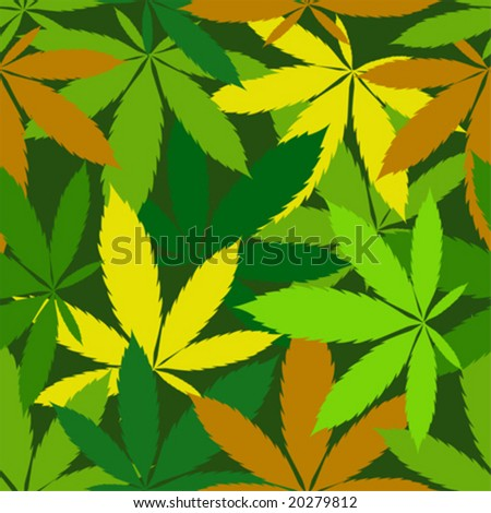 vector seamless pattern of cannabis leaf - stock vector