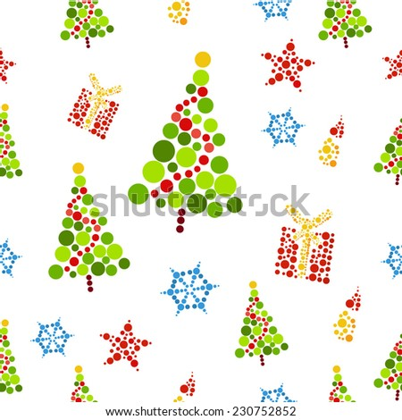 vector seamless pattern of christmas tree - stock vector