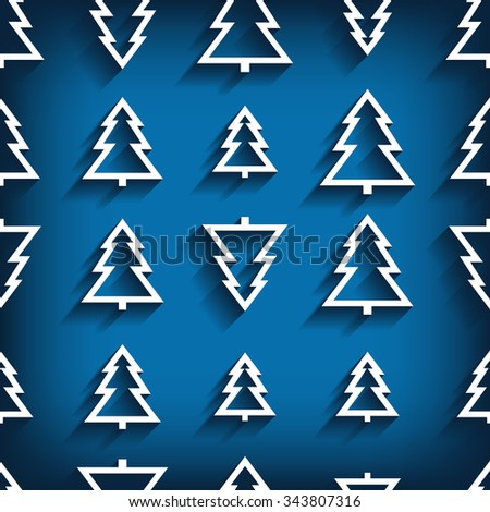 vector seamless pattern of christmas tree. 10 eps - stock vector