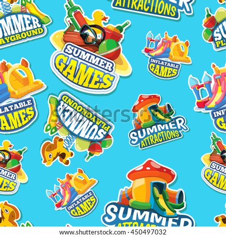 Vector seamless pattern of color emblems with toys for summer games on inflatable playground. Advertise labels. Pictures isolate on blue background - stock vector