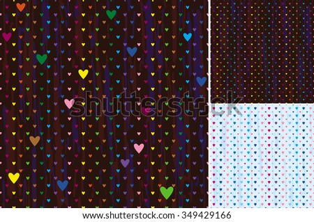 Vector seamless pattern of different-sized hearts on a dark background - stock vector
