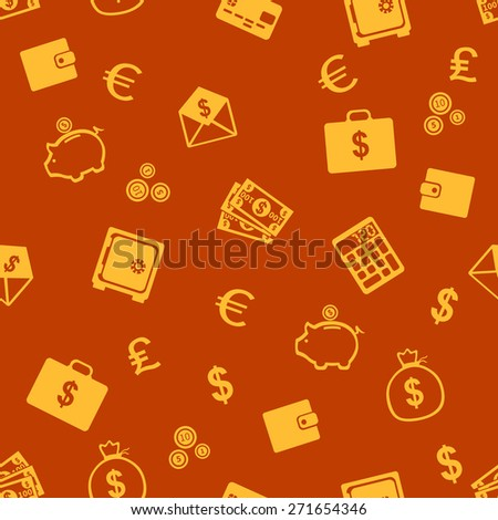 Vector Seamless Pattern of Finance. Finance, Money, Wealth, Business, Currency.
