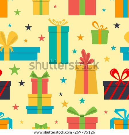 Vector seamless pattern of gift boxes and stars