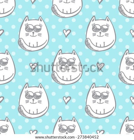 vector seamless pattern of hand drawn cats and hearts, mint color - stock vector