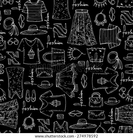 Vector seamless pattern of hand drawn fashion collection with summer women's clothing on black background. Background for use in design, web site, packing, textile, fabric
