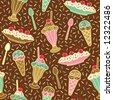 """Vector seamless pattern of ice cream desserts with a """"chocolate"""" background color. Repeat size is 6.3125"""". - stock vector"""