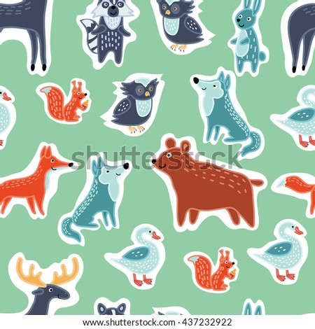Vector seamless pattern of illustration of Forest funny cartoon animals set - stock vector