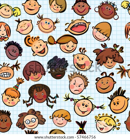 Vector seamless pattern of kid's faces different races - stock vector