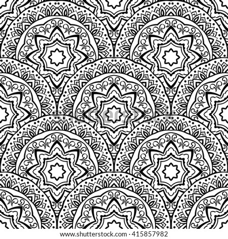 Vector seamless pattern of mandalas. Ornament of round decorative elements. Ethnic background with stylized abstract plates. Template for curtain, tablecloth, carpet. - stock vector
