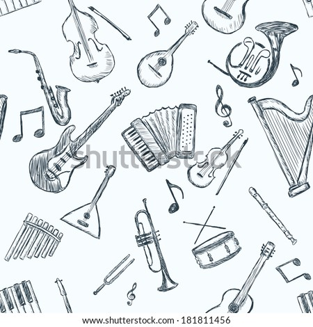 Vector Seamless Pattern of Musical Instruments