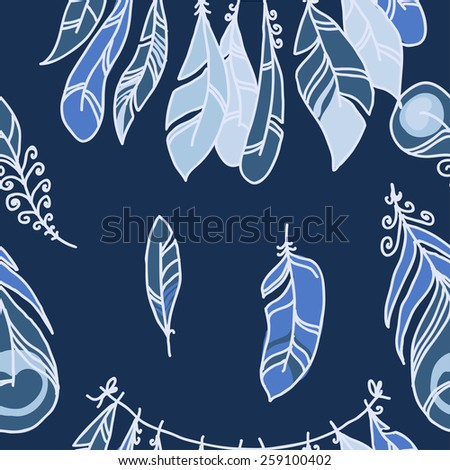 Vector Seamless Pattern of Plumage on Pastel Background