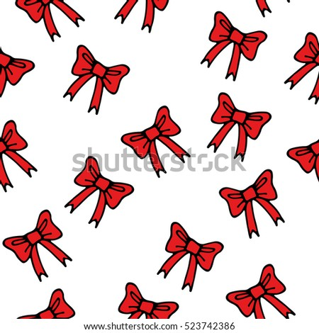 vector seamless pattern of red hand drawn bows