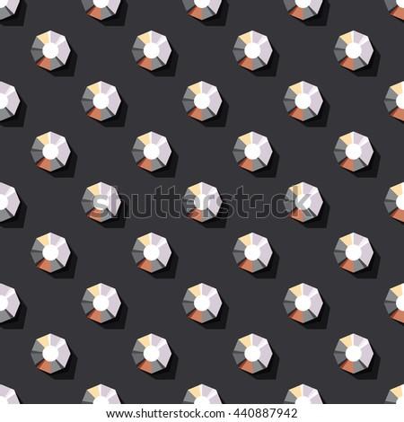 vector seamless pattern of rhinestones on dark background - stock vector